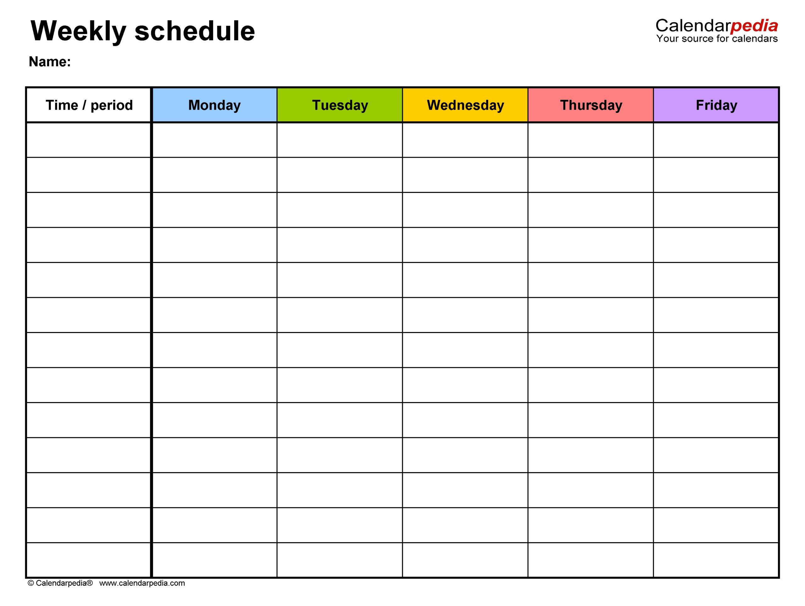 5 Day Week Calender Template | Calendar Template Printable