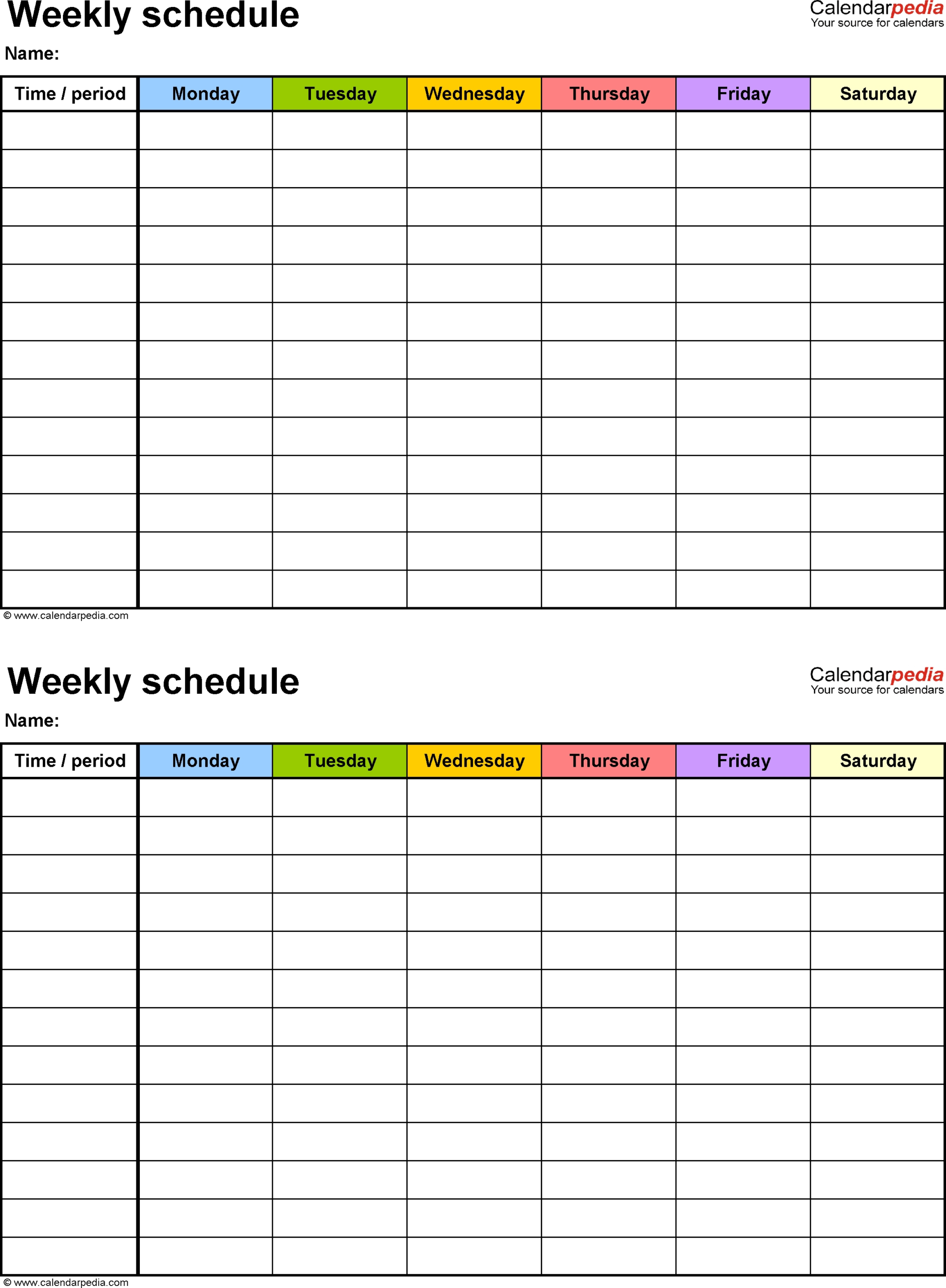 5 Day Weekly Timetable Blank 6 Periods - Calendar