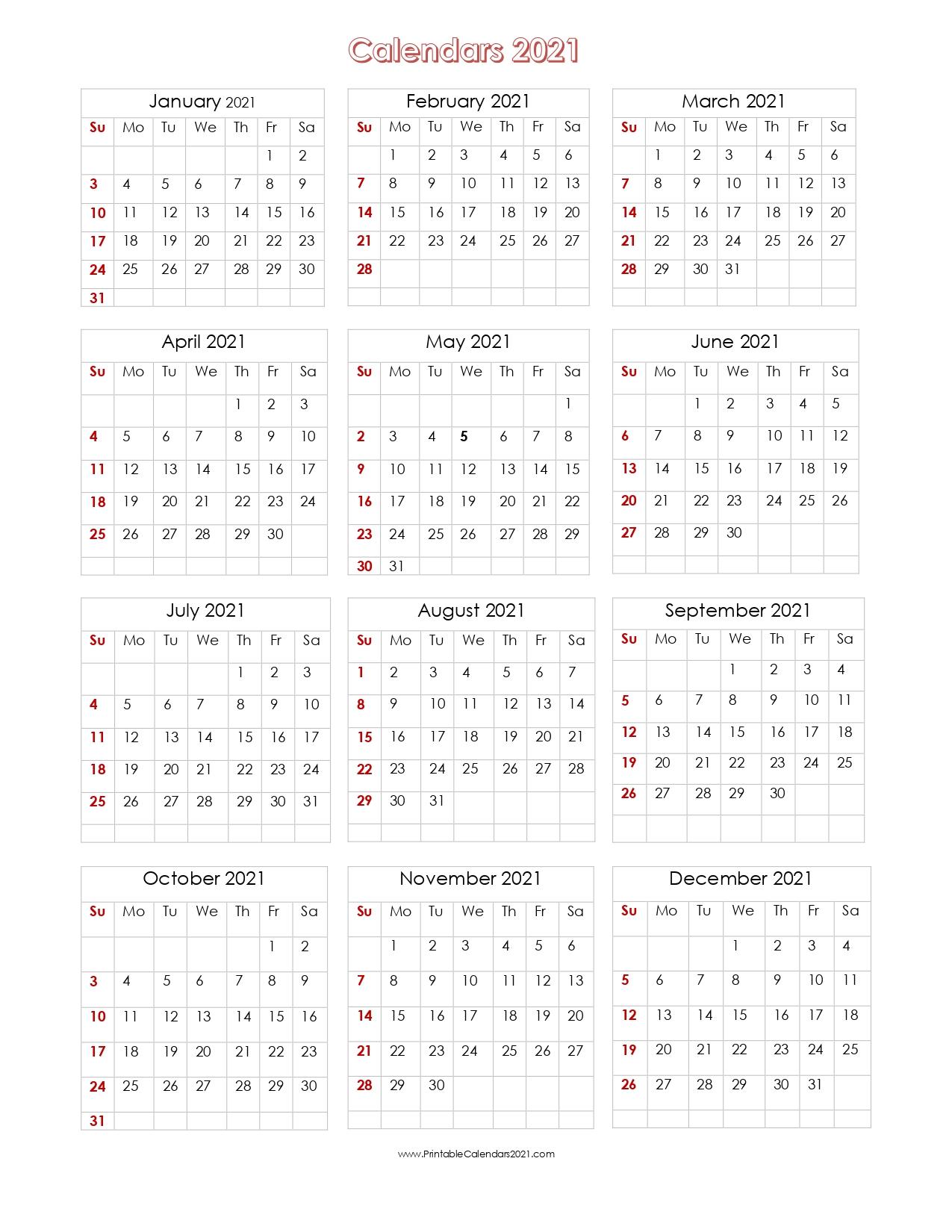 56+ Printable Calendar 2021 One Page Printable 2021