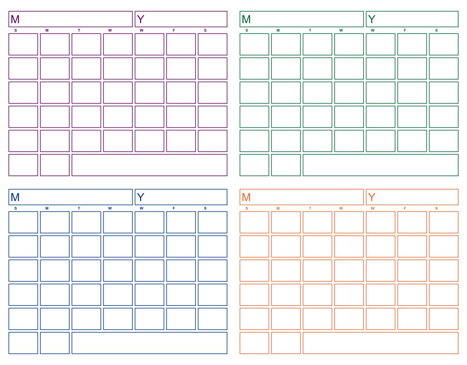 6 Best Blank Printable Calendar - Printablee