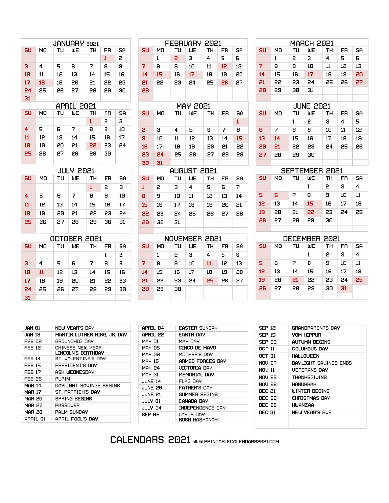 68+ Printable 2021 Yearly Calendar With Holidays Portrait