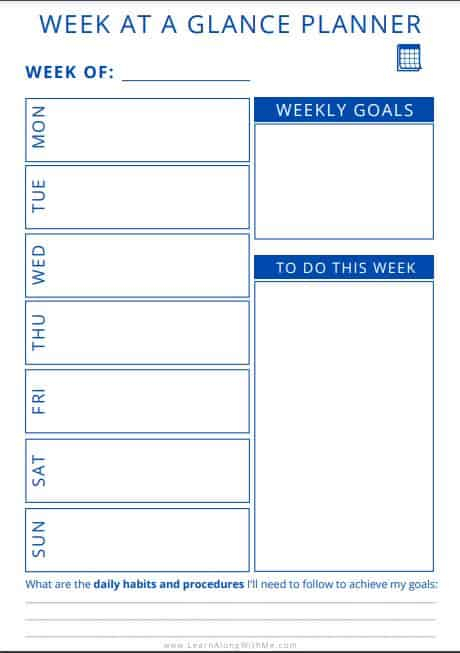 7 Super-Helpful Week At A Glance Printable Templates [Free