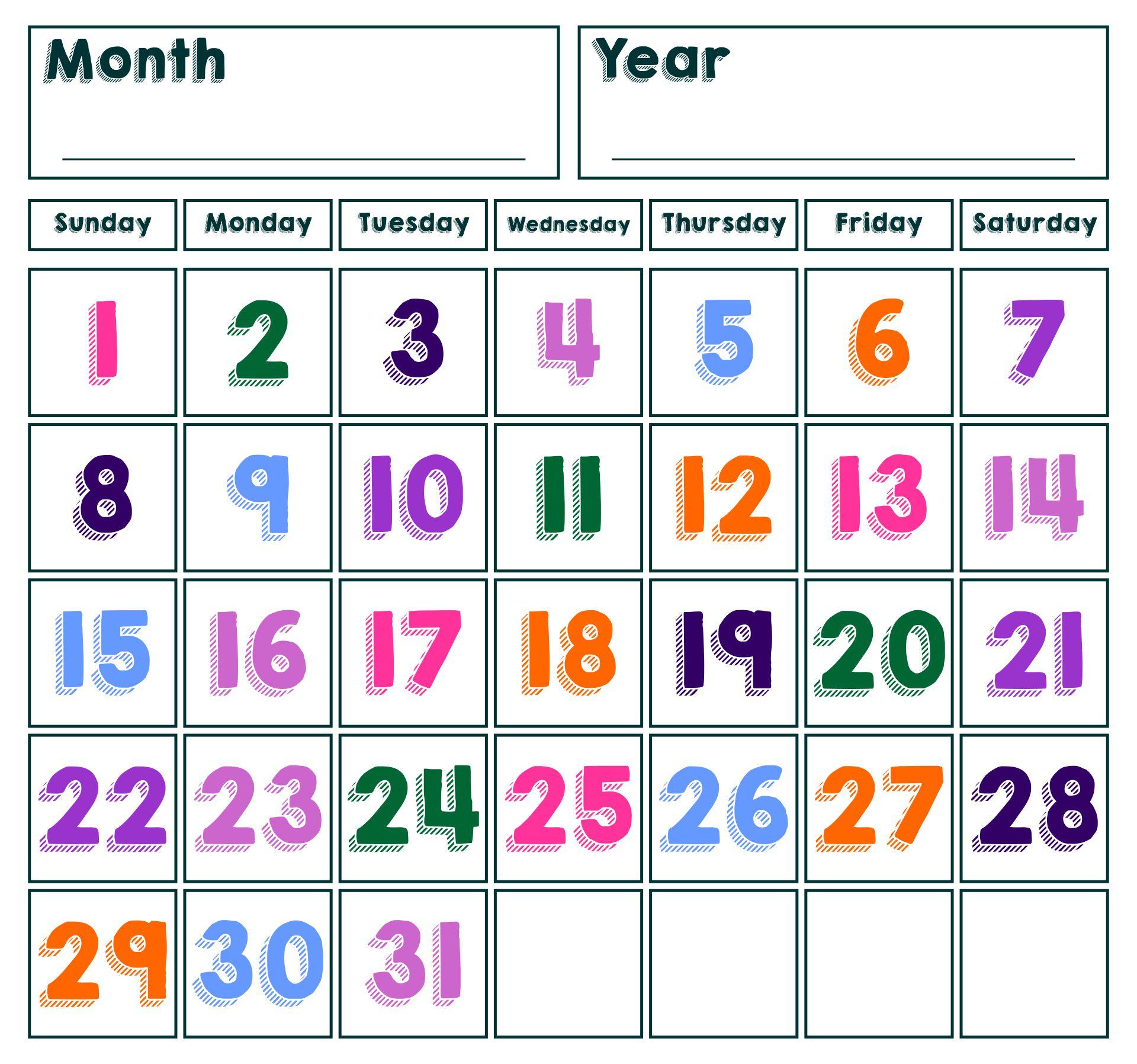 8 Best Printable Spring Calendar Numbers - Printablee