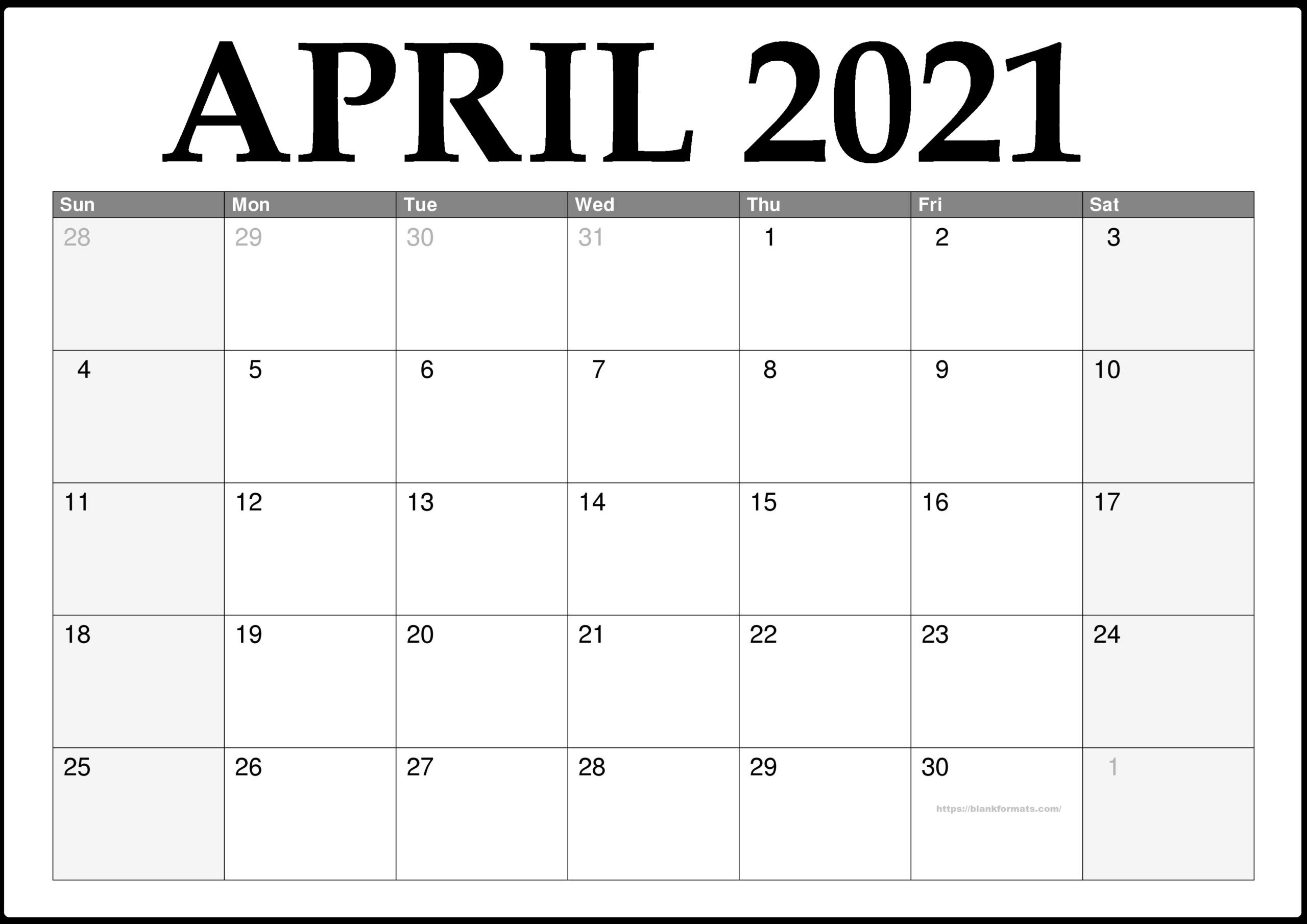 April 2021 Calendar Pdf Word Excel Documents Sheet