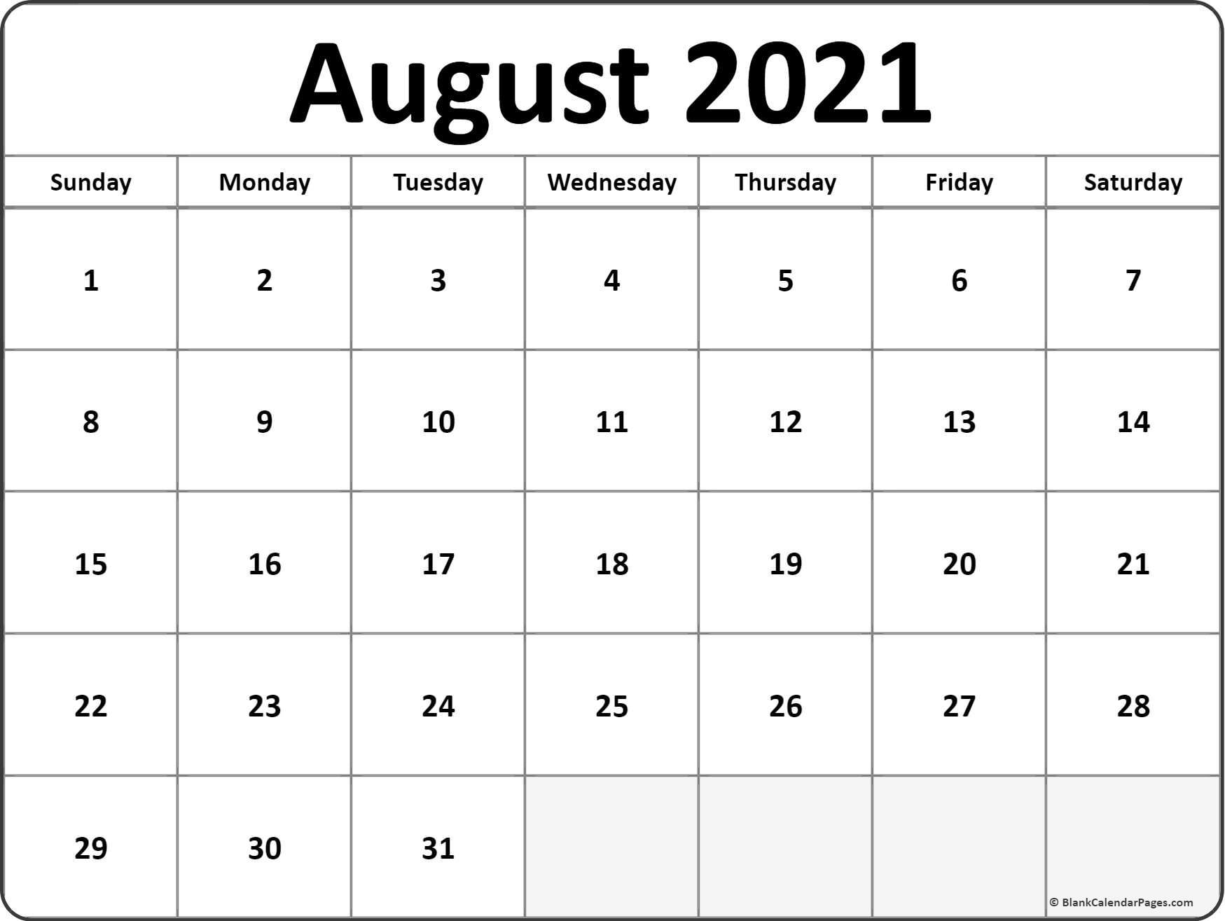 August 2021 Blank Calendar Templates.
