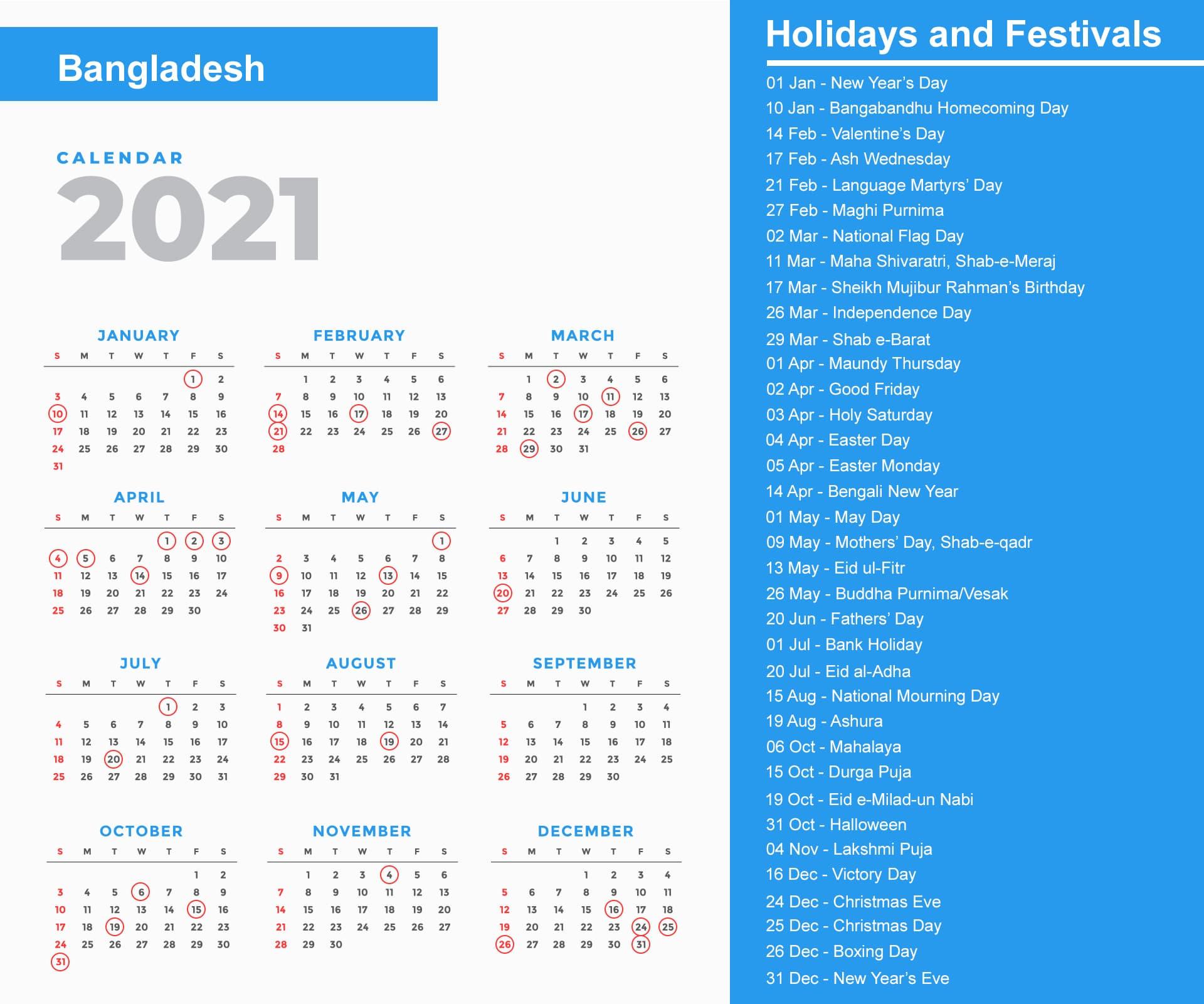 Bangladesh Holidays 2021 And Observances 2021