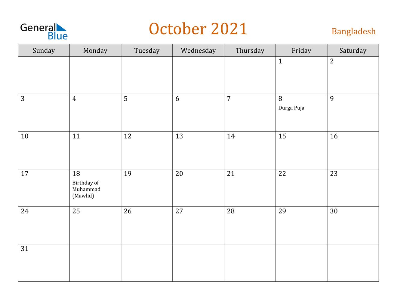 Bangladesh October 2021 Calendar With Holidays