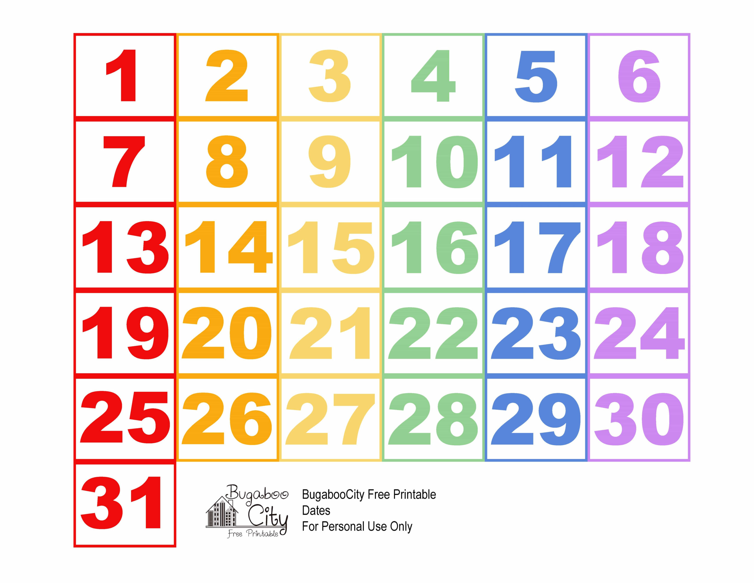 Best Of Printable Numbers For Calendar | Free Printable