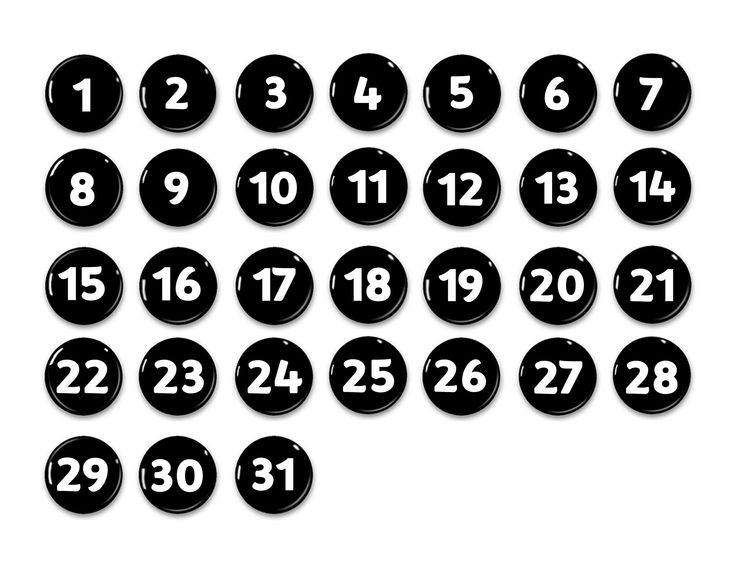 Black And White Perpetual Calendar-Numbers 1-31 1 | Etsy