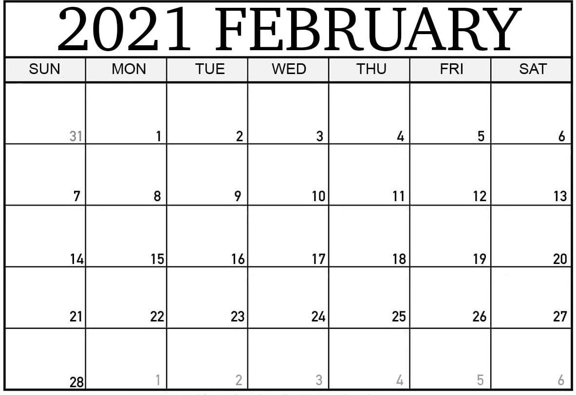 Blank February 2021 Calendar With Templates - Free Printable Blank Holidays Calendar Wishes