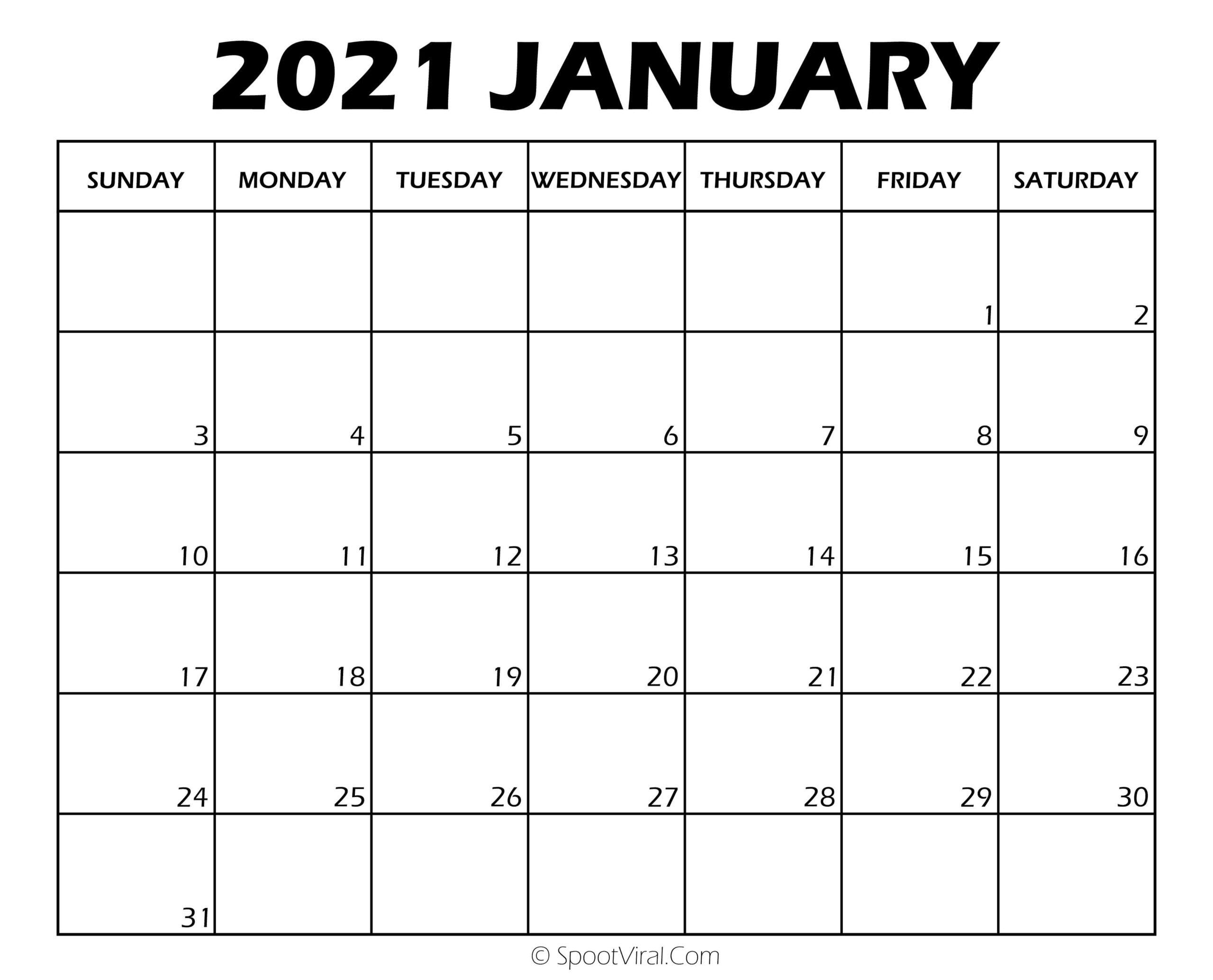 Blank January 2021 Calendar Printable - Latest Calendar