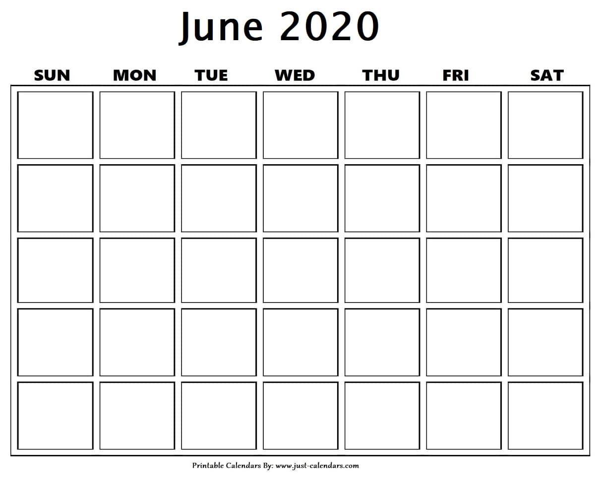 Blank June 2020 Calendar In 2020   Calendar Printables Monthly Calendar Printable 2020