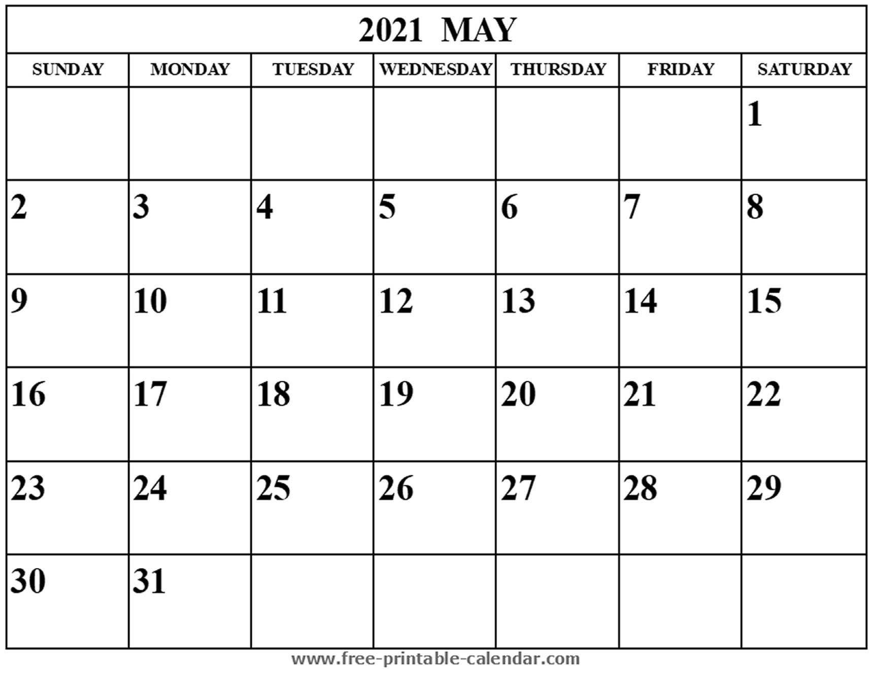 Blank May 2021 Calendar - Free-Printable-Calendar