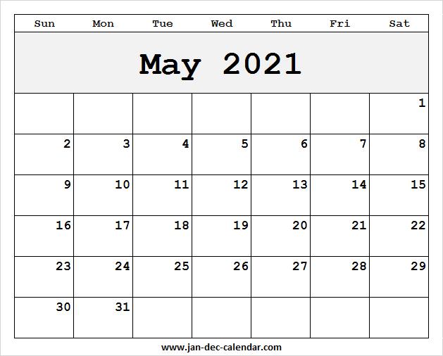 Blank Printable May Calendar 2021 Template Free