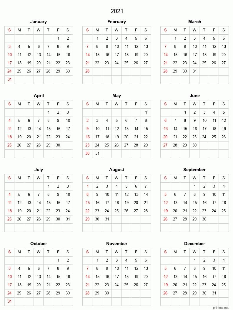 Blank Yearly Calendar 2021 | Calendar Template Printable