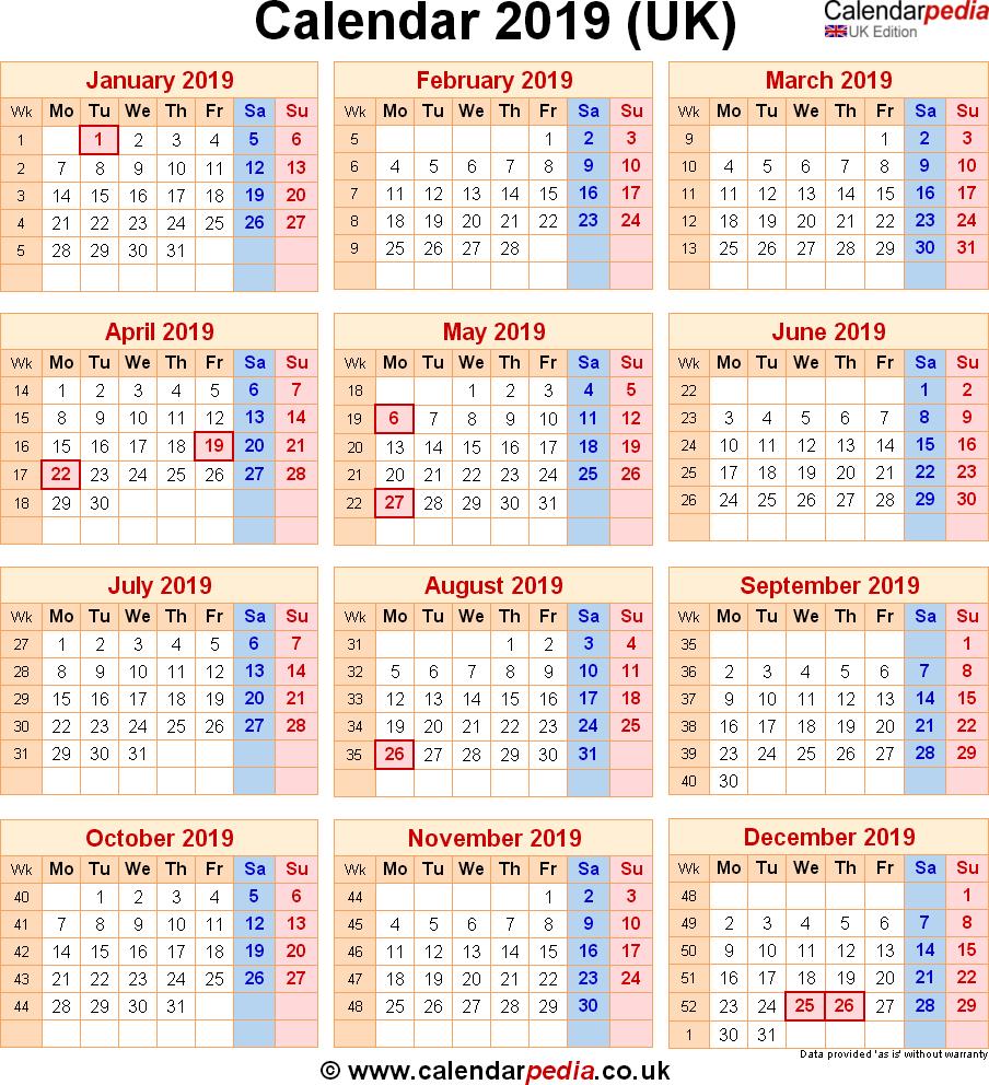 Calendar 2019 Uk With Bank Holidays & Excelpdfword Templates