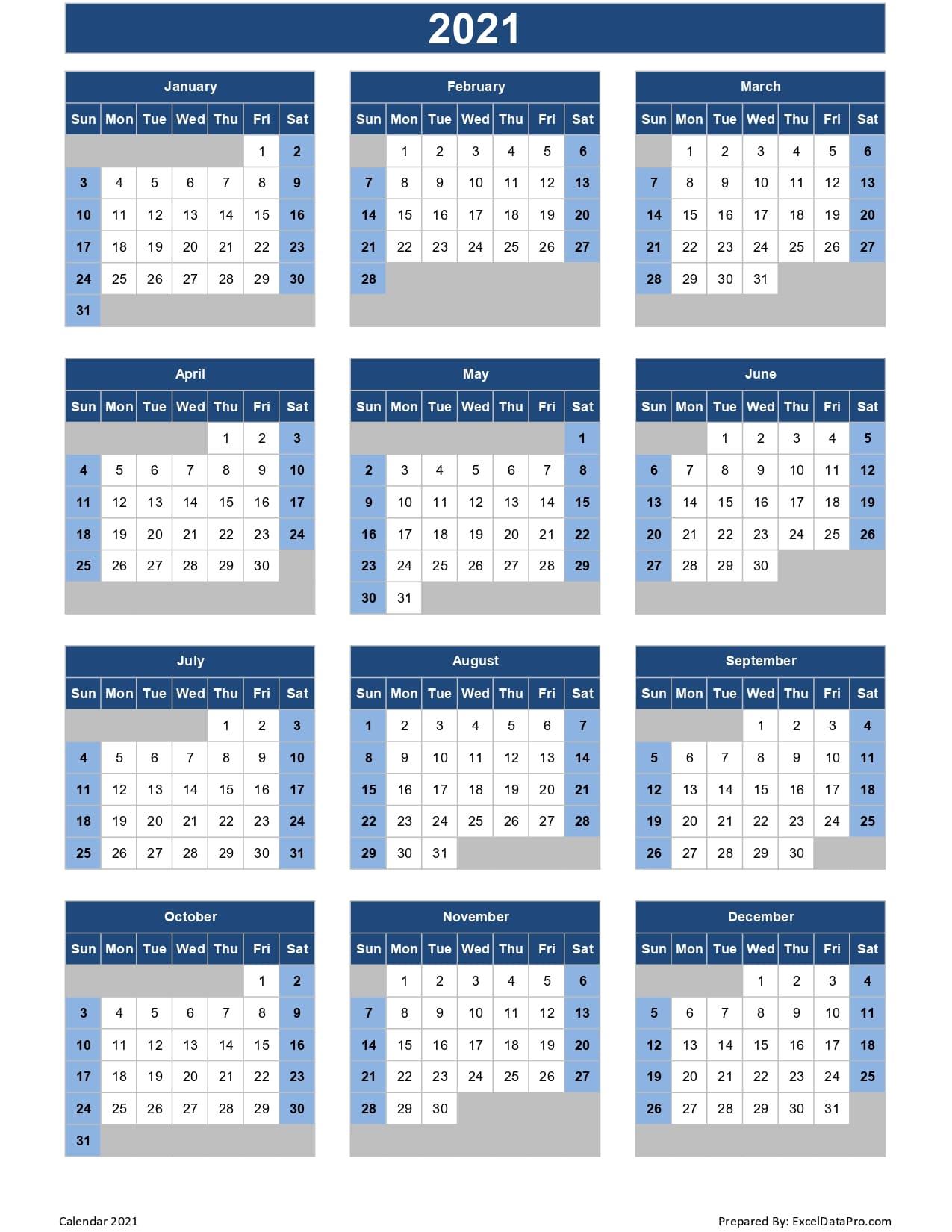 Calendar 2021 Excel Templates Printable Pdfs & Images