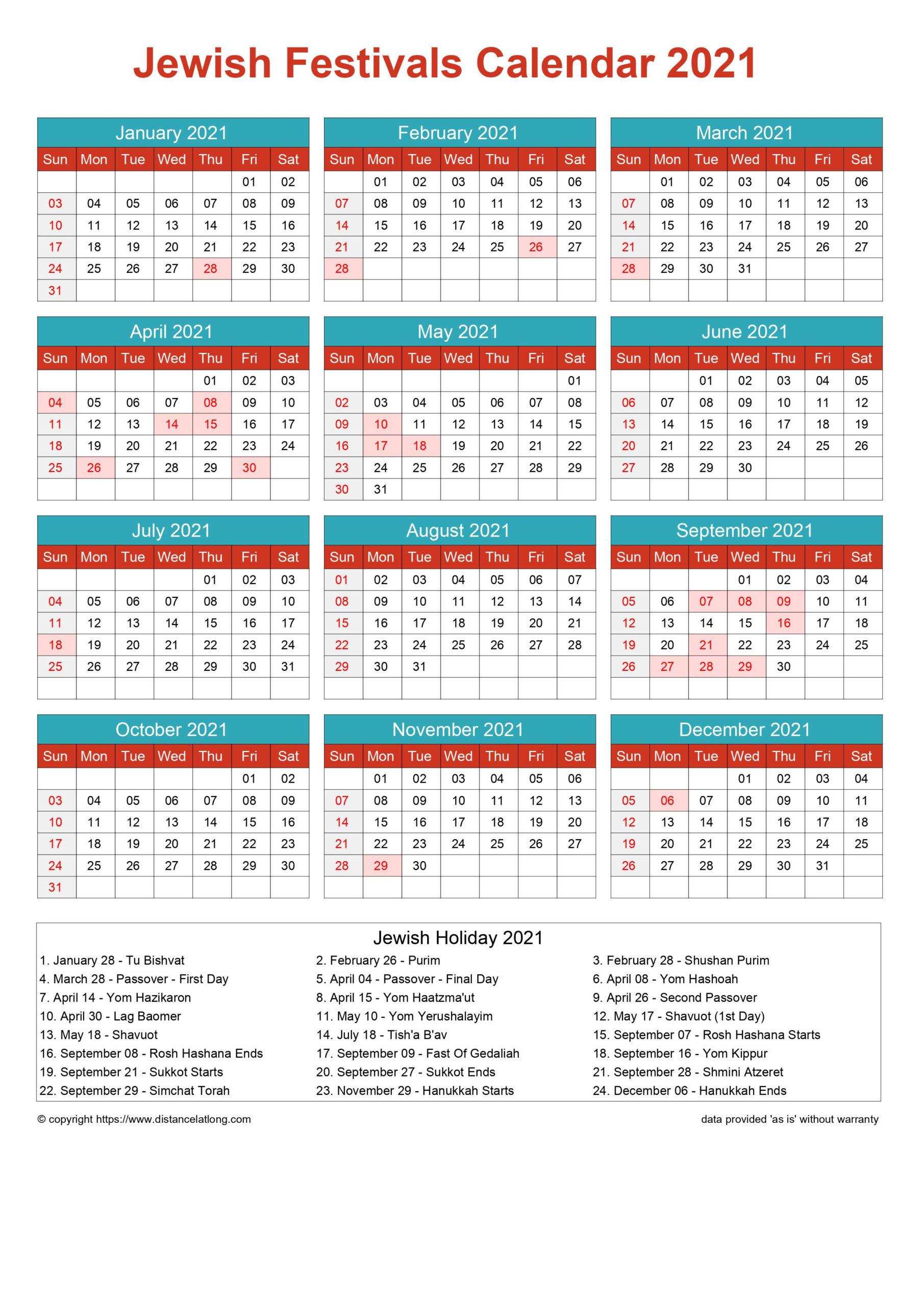 Calendar Horizintal Grid Sunday To Saturday Jewish Holiday