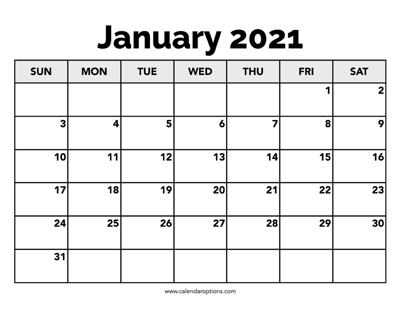 Calendar January 2021 - Calendar Options
