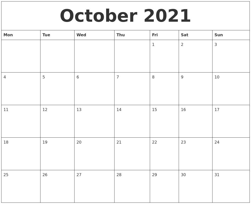 Calendar October 2021 | Avnitasoni