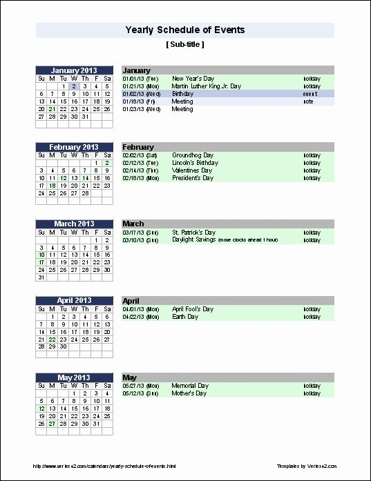 Calendar Of Events Template Fresh Free Yearly Schedule Of