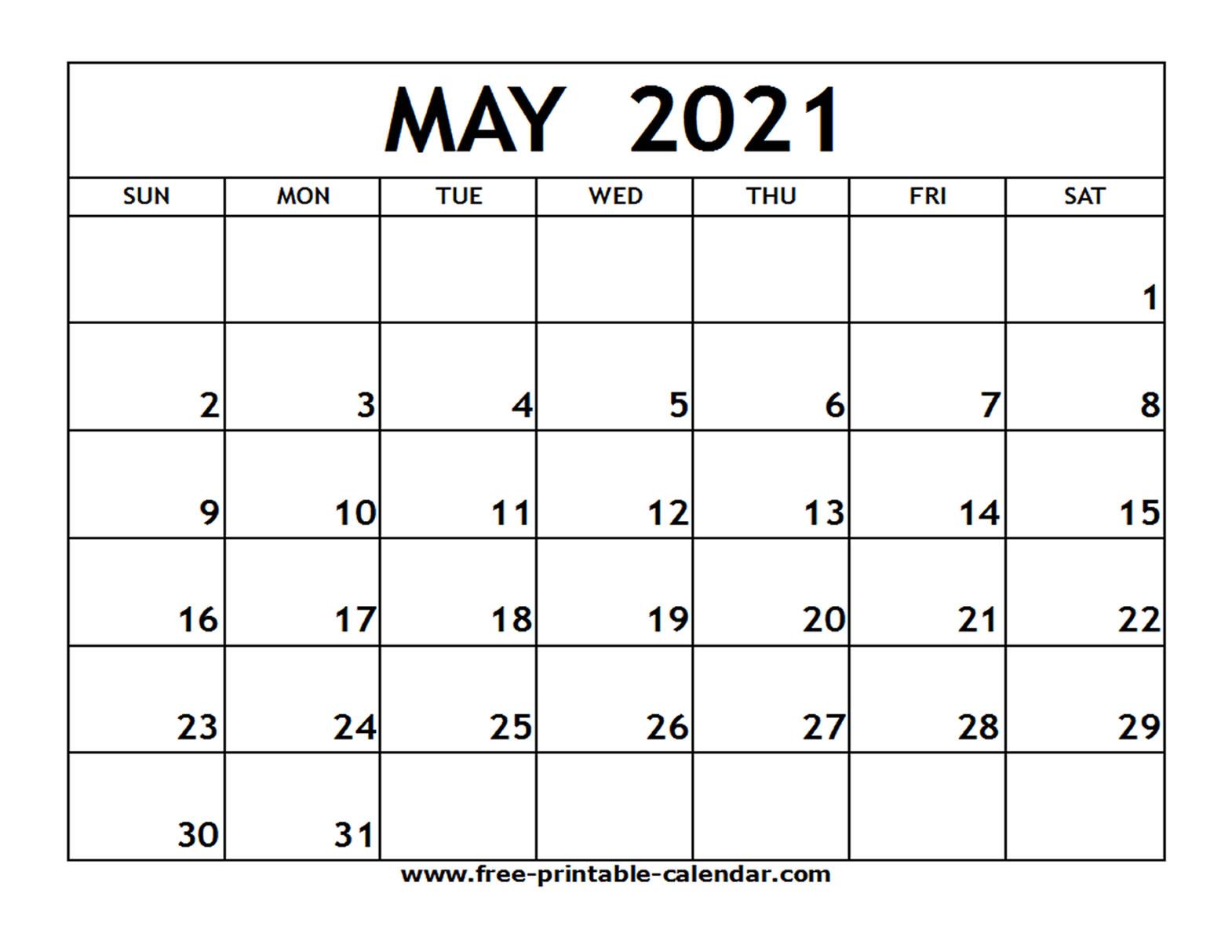 Calendar Template April May 2021 | Free Printable Calendar
