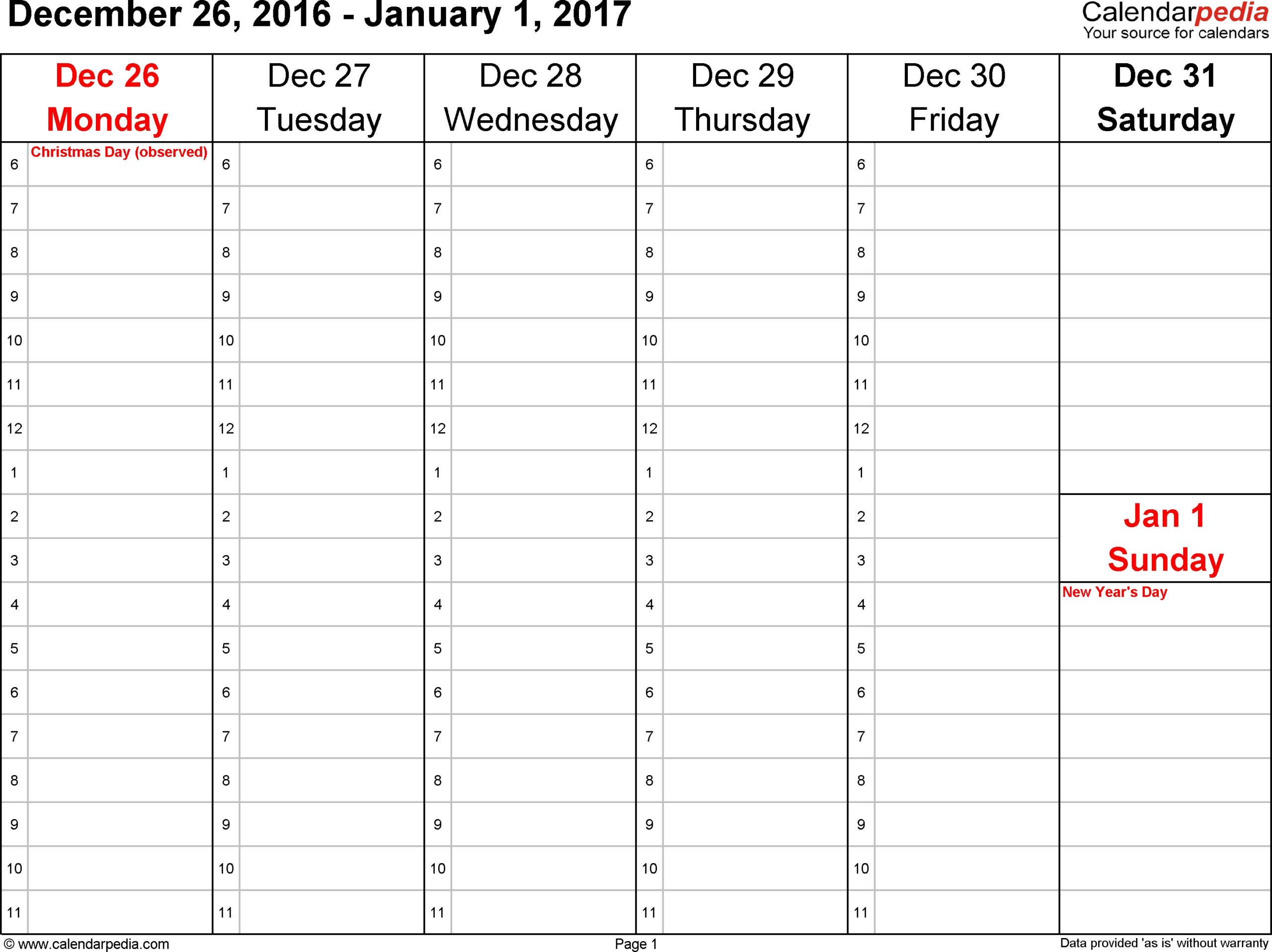Calendar Week At A Glance Printable | Ten Free Printable