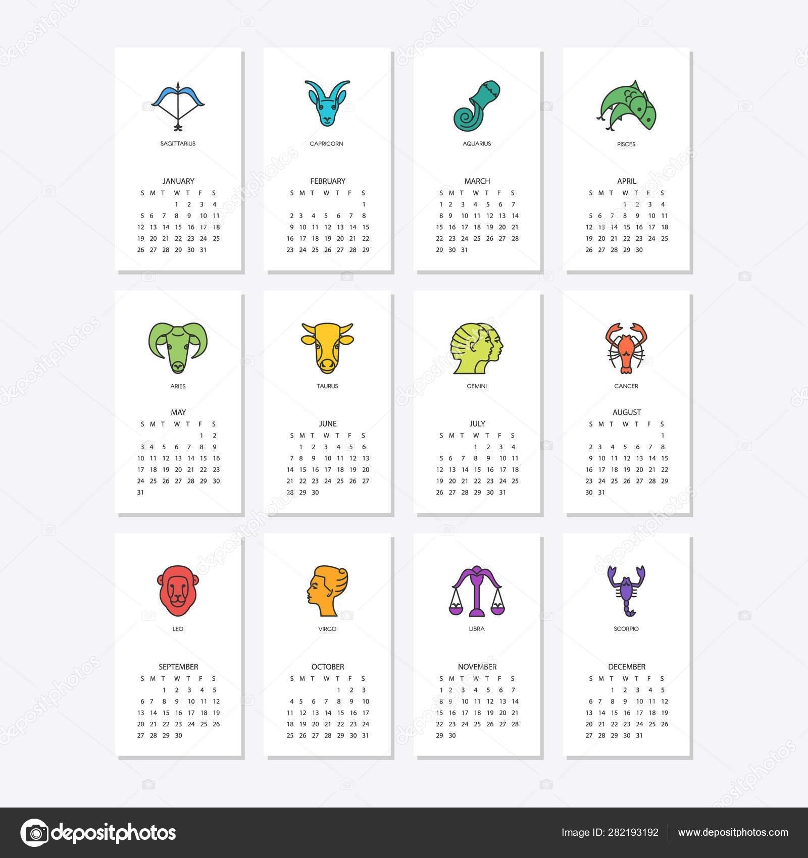Calendar With Zodiac Signs 2020   Month Calendar Printable