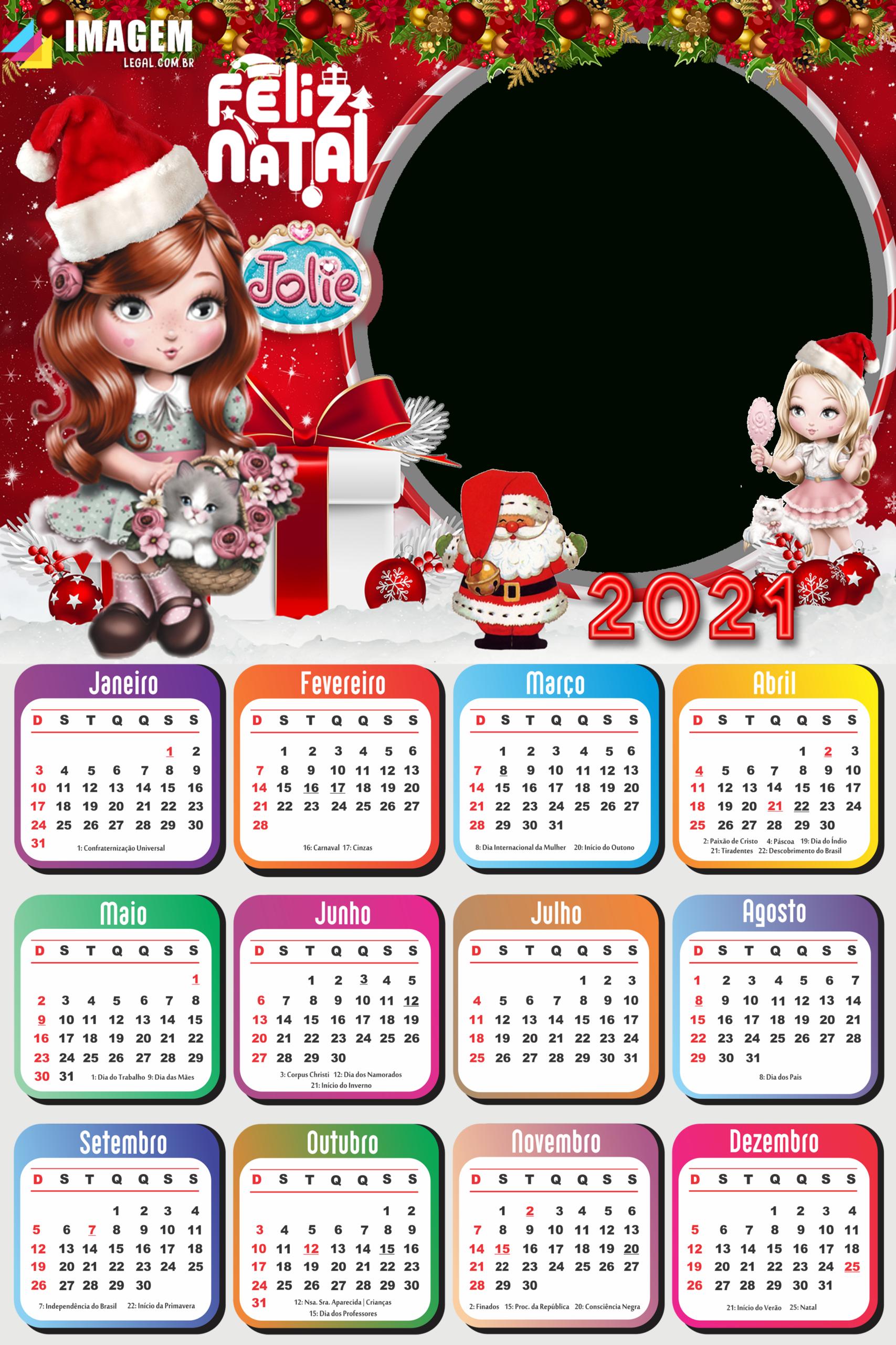Calendário 2021 Png Feliz Natal Da Jolie | Imagem Legal