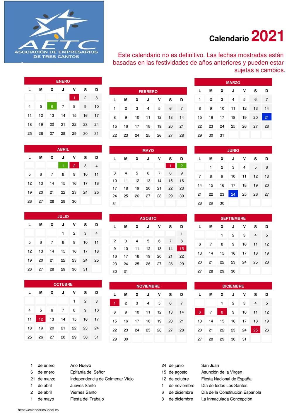 Calendario-Laboral-2021 - Asociación De Empresarios Tres