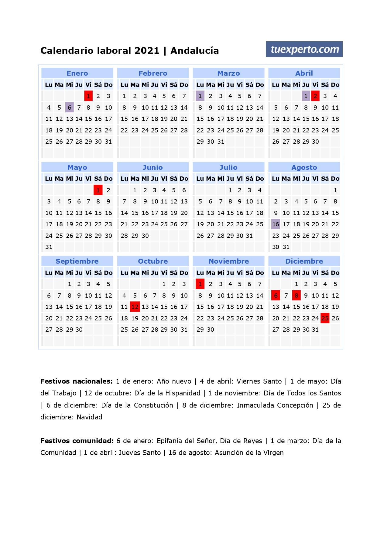 Calendario Laboral 2021 Calendarios Con Festivos Por