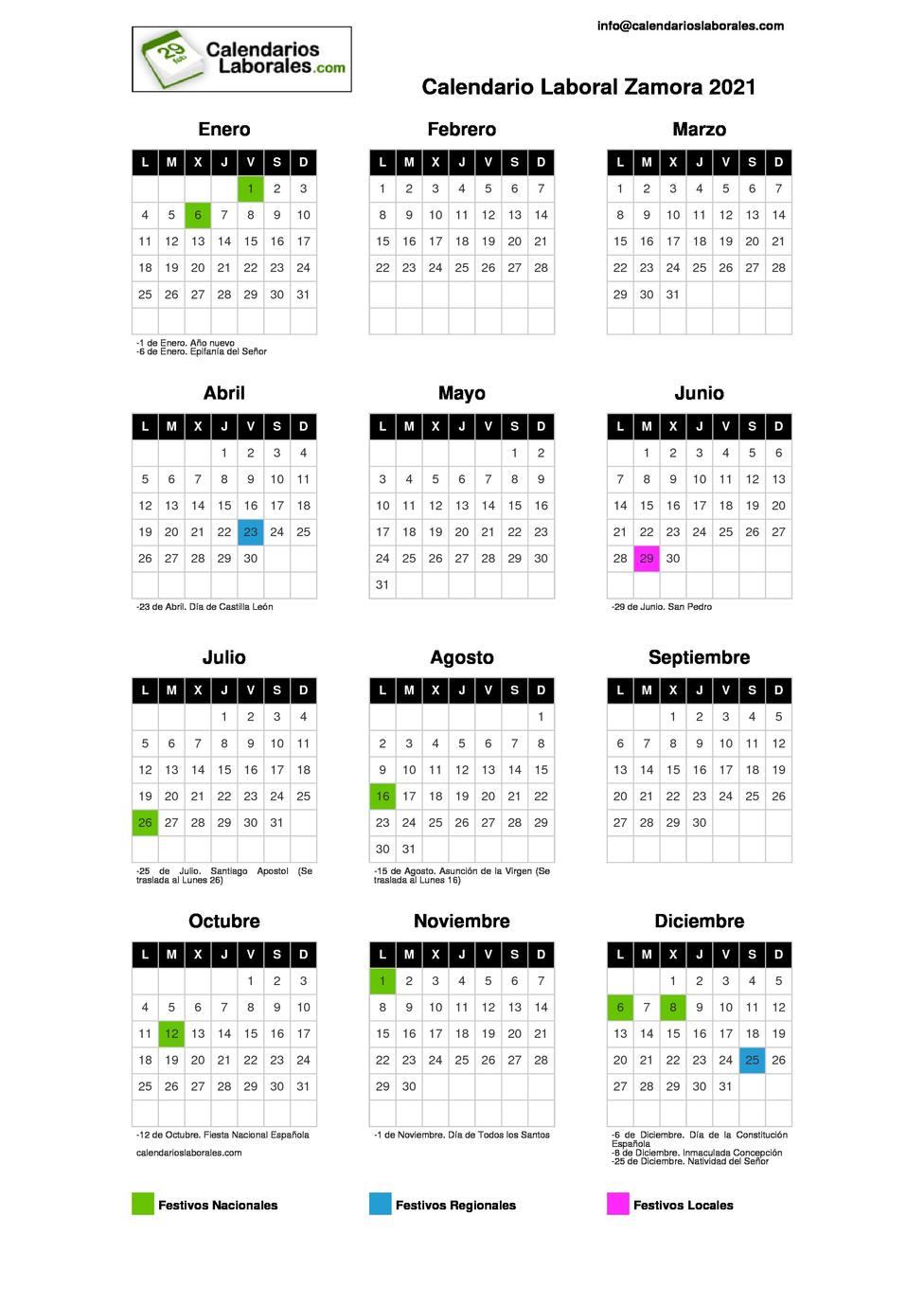 Calendario Laboral 2021 De Zamora:consulta Aquí Los Días