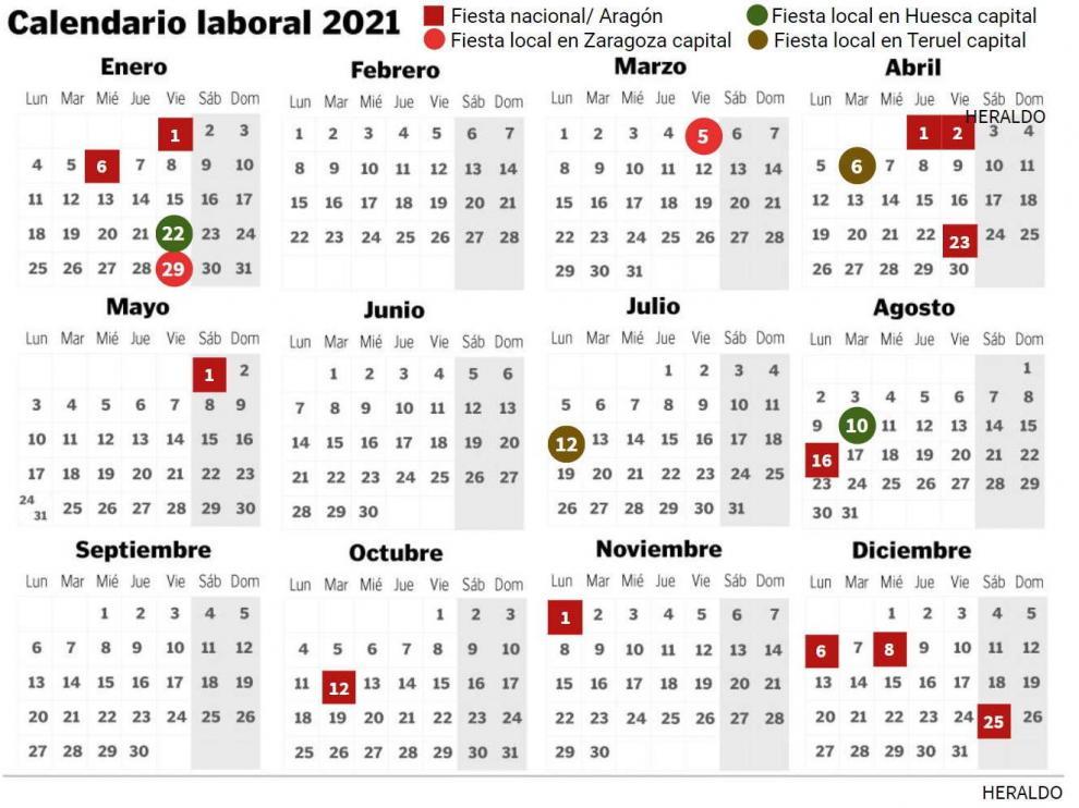 Calendario Laboral De 2021 En Zaragoza Huesca Y Teruel