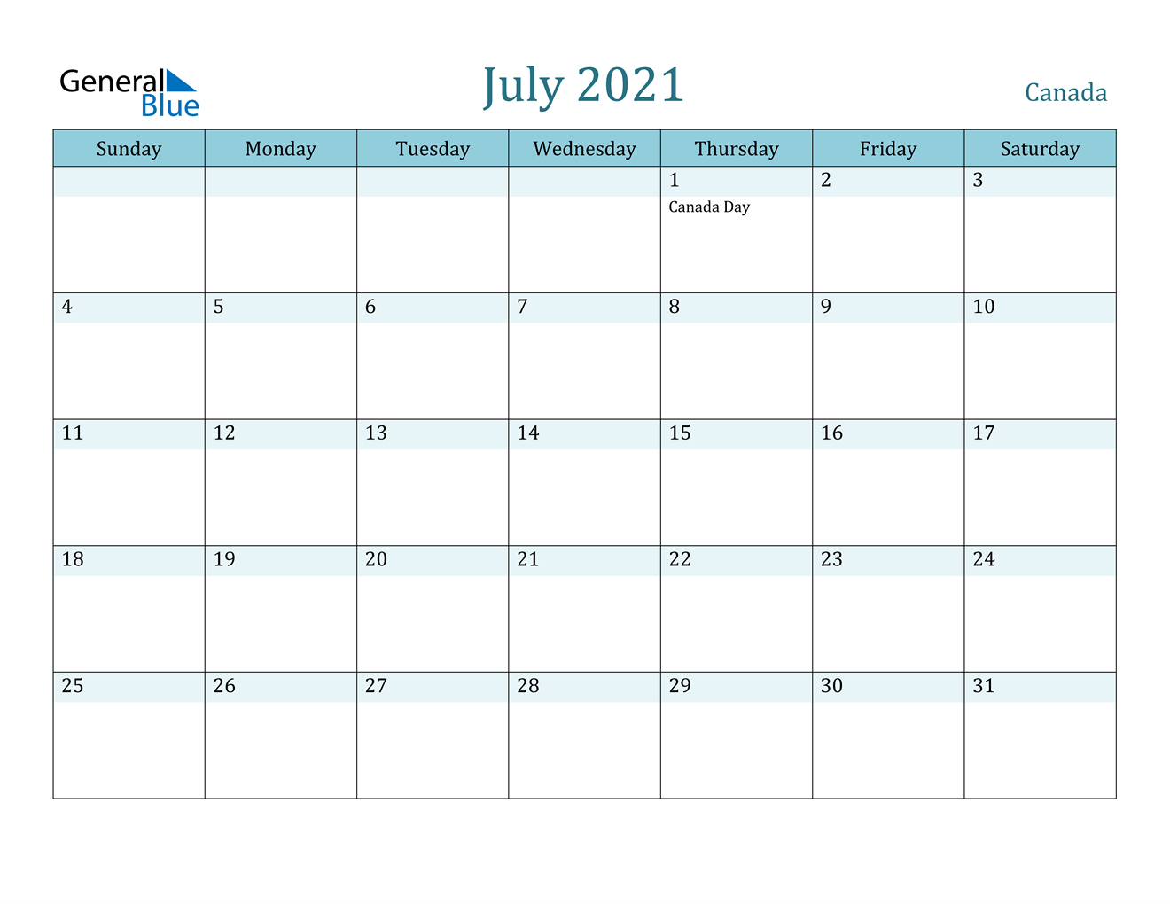 Canada July 2021 Calendar With Holidays