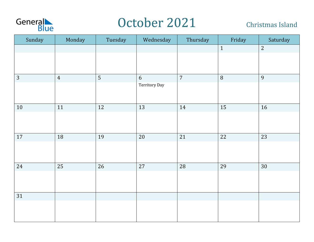 Christmas Island October 2021 Calendar With Holidays
