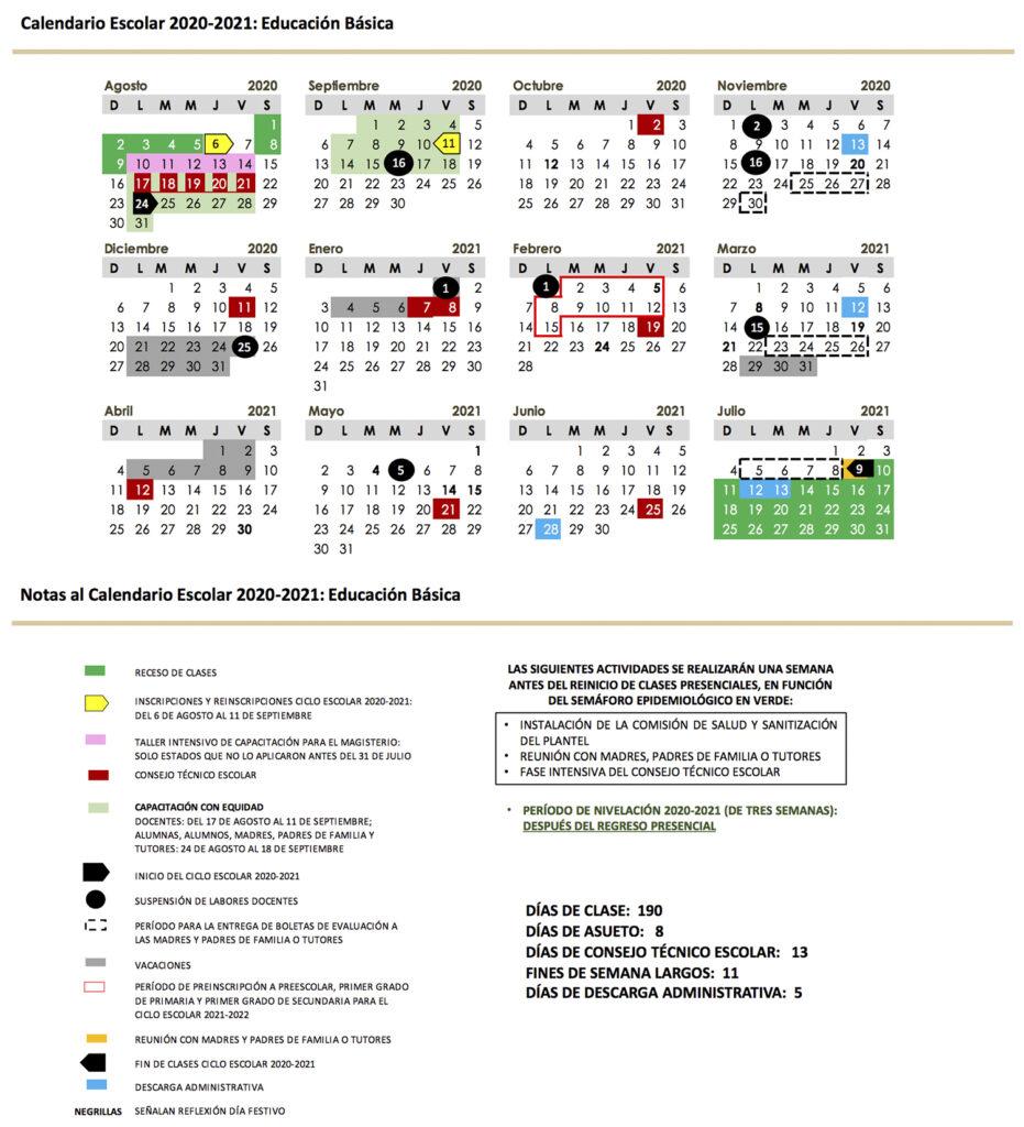 Conoce Los Calendarios Escolares Para El Ciclo 2020 - 2021
