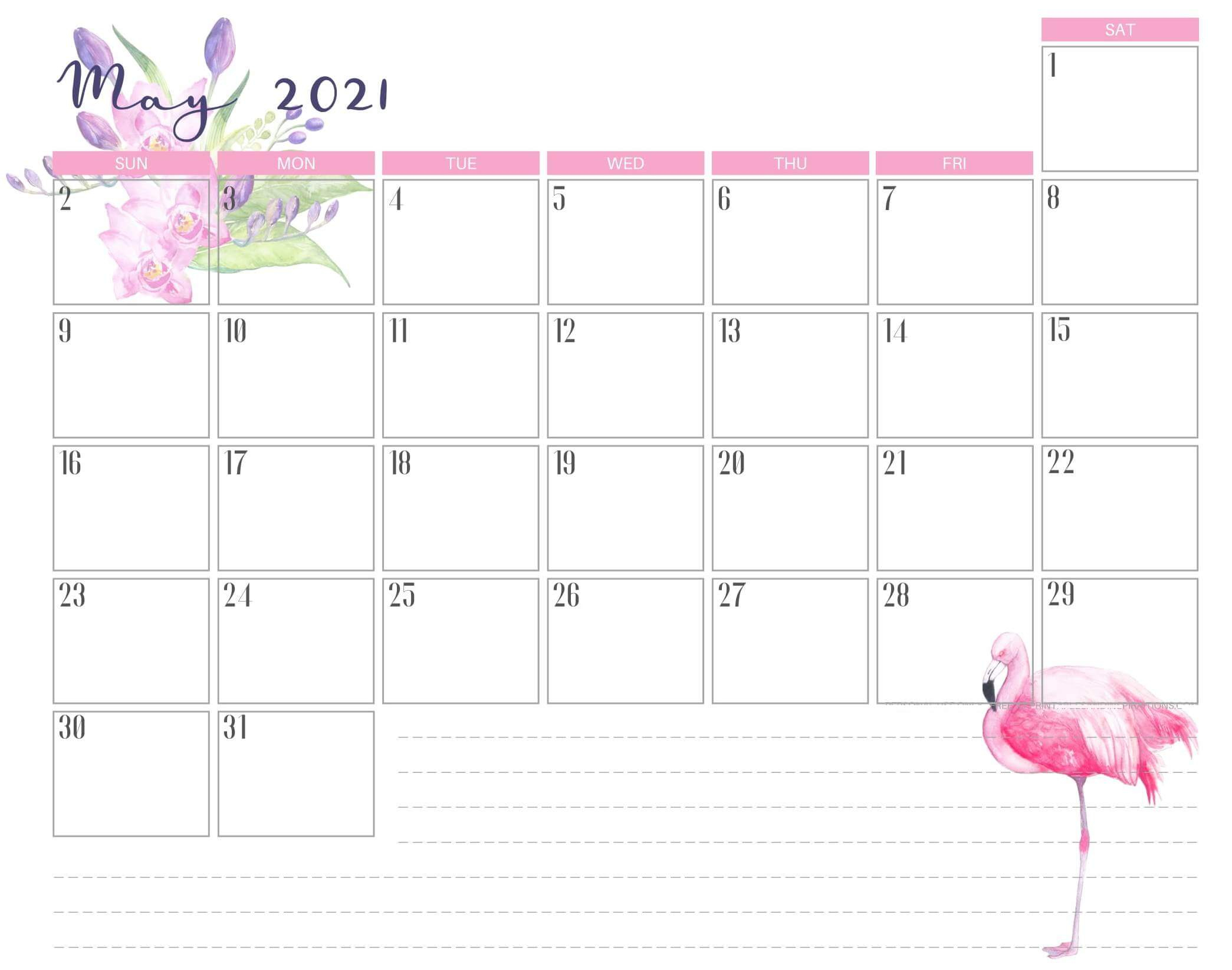 Cute May 2021 Calendar Design Template With Notes - One
