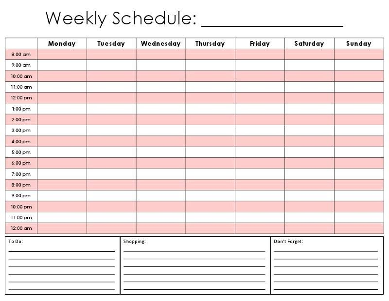 Daily Hour Calendar Template | Daily Schedule Template