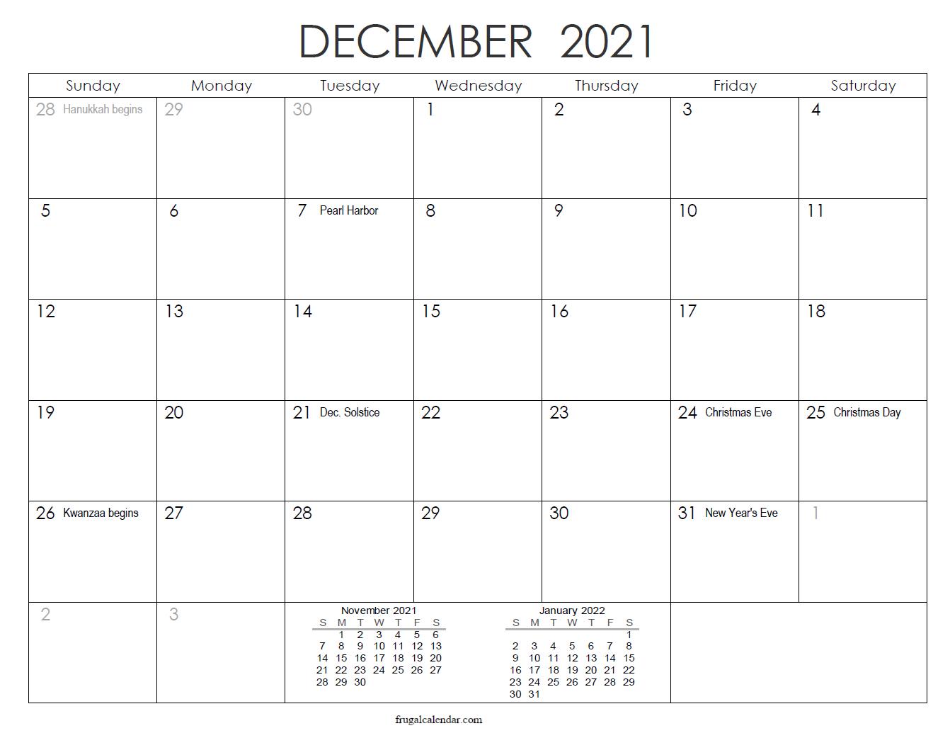 December Calendar 2021   2021 Calendars Printable