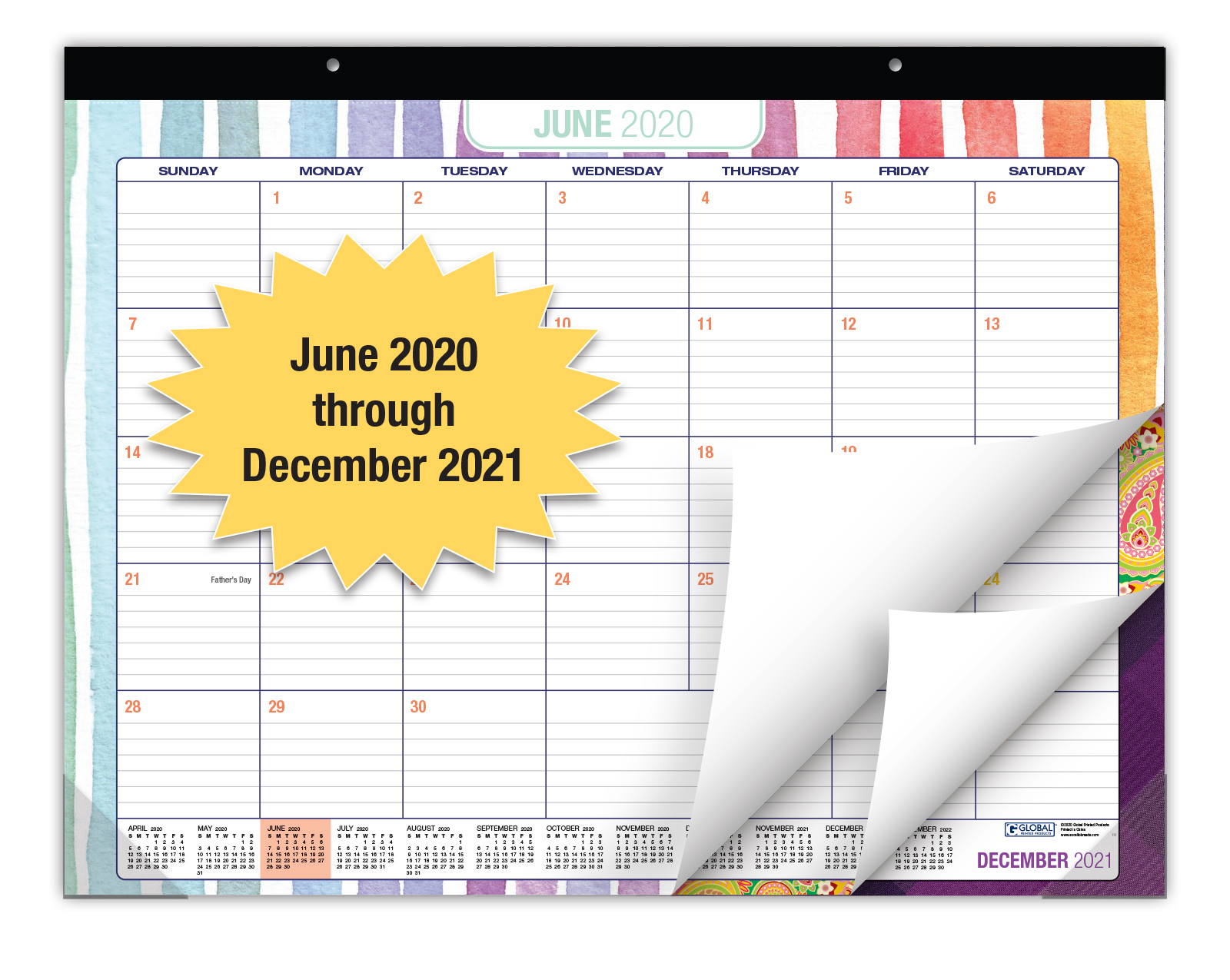 """Desk Calendar With Assorted Patterns 2020 - 2021: Large Monthly Pages - 22""""X17"""" 812458036537 