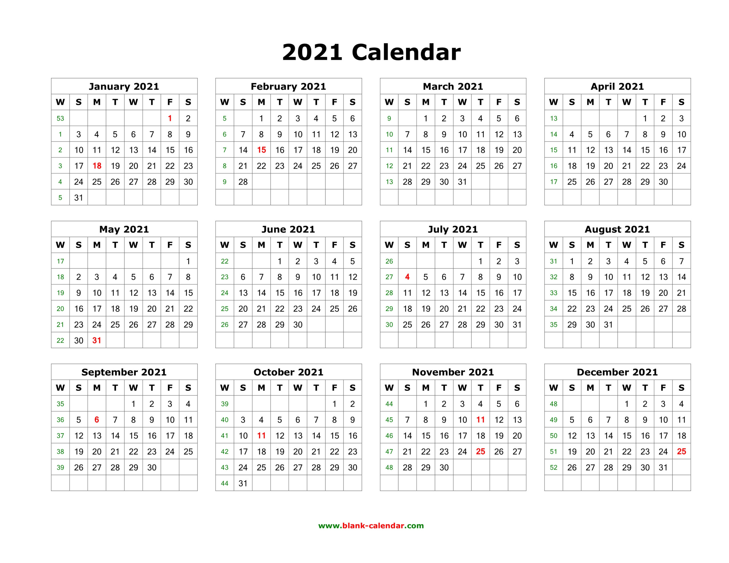Download Blank Calendar 2021 (12 Months On One Page