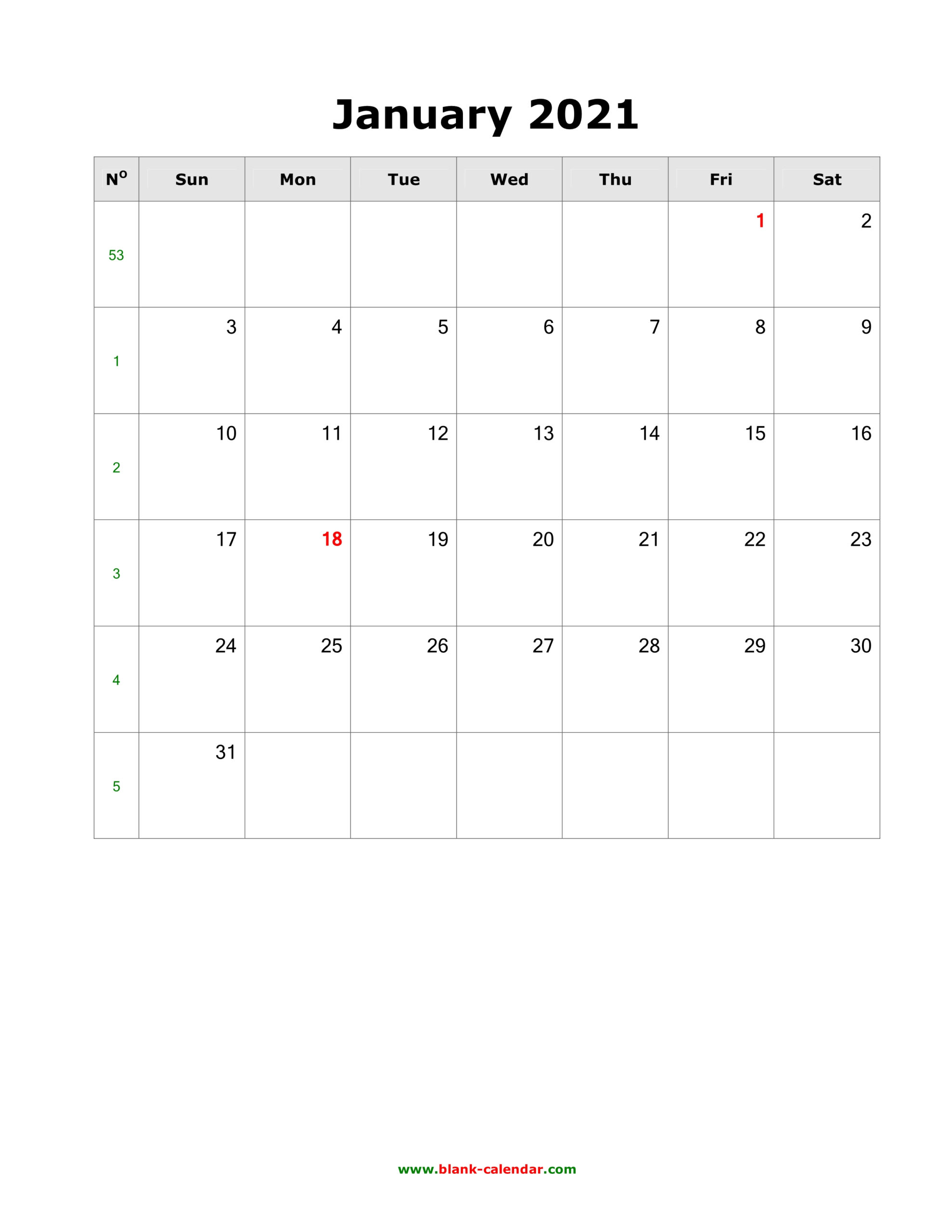 Download Blank Calendar 2021 (12 Pages One Month Per Page