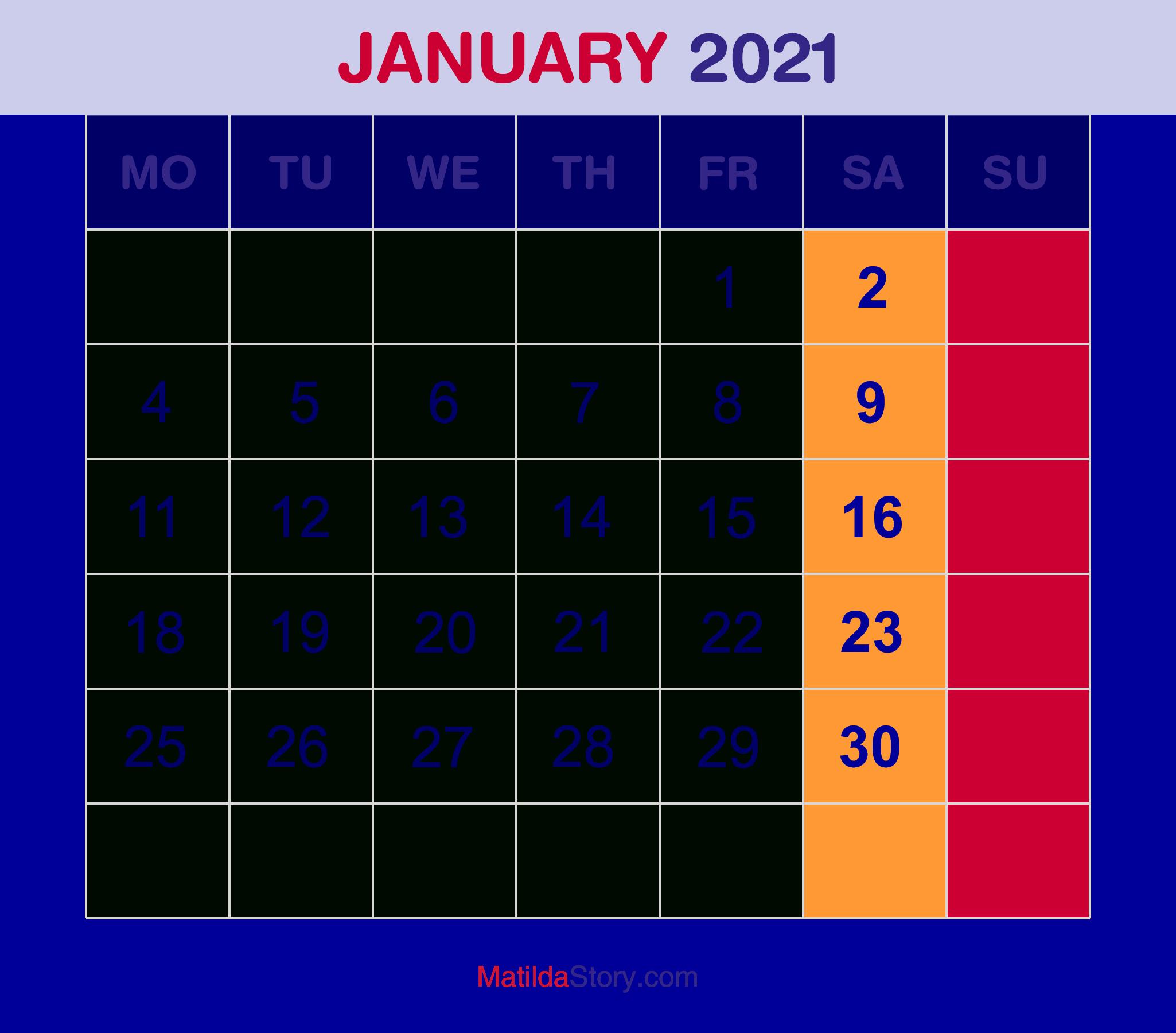 Download Calendar January 2021 : 65+ Printable Calendar January 2021 Holidays Portrait