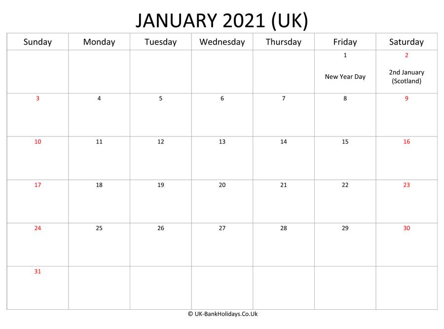 Download Editable January 2021 Monthly Uk Calendar