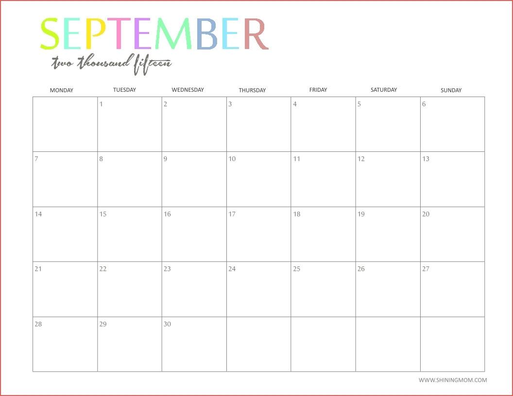 Editable 2015 Monthly Calendar Template - Calendar