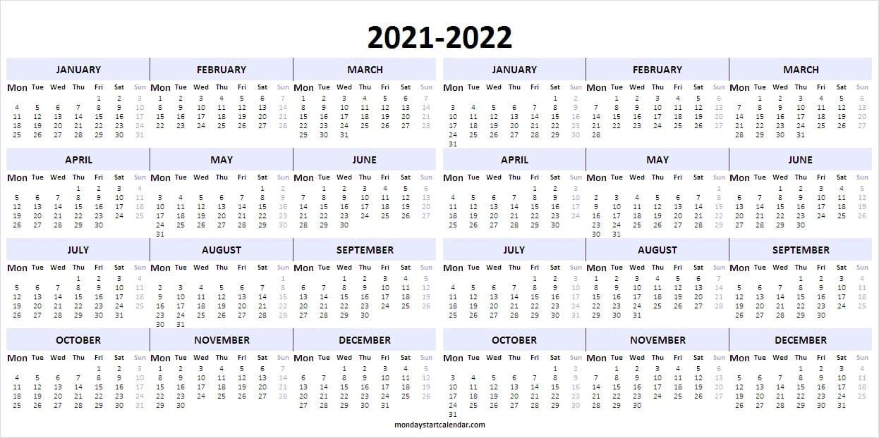 Editable Academic Calendar 2021-22   Blank Calendar