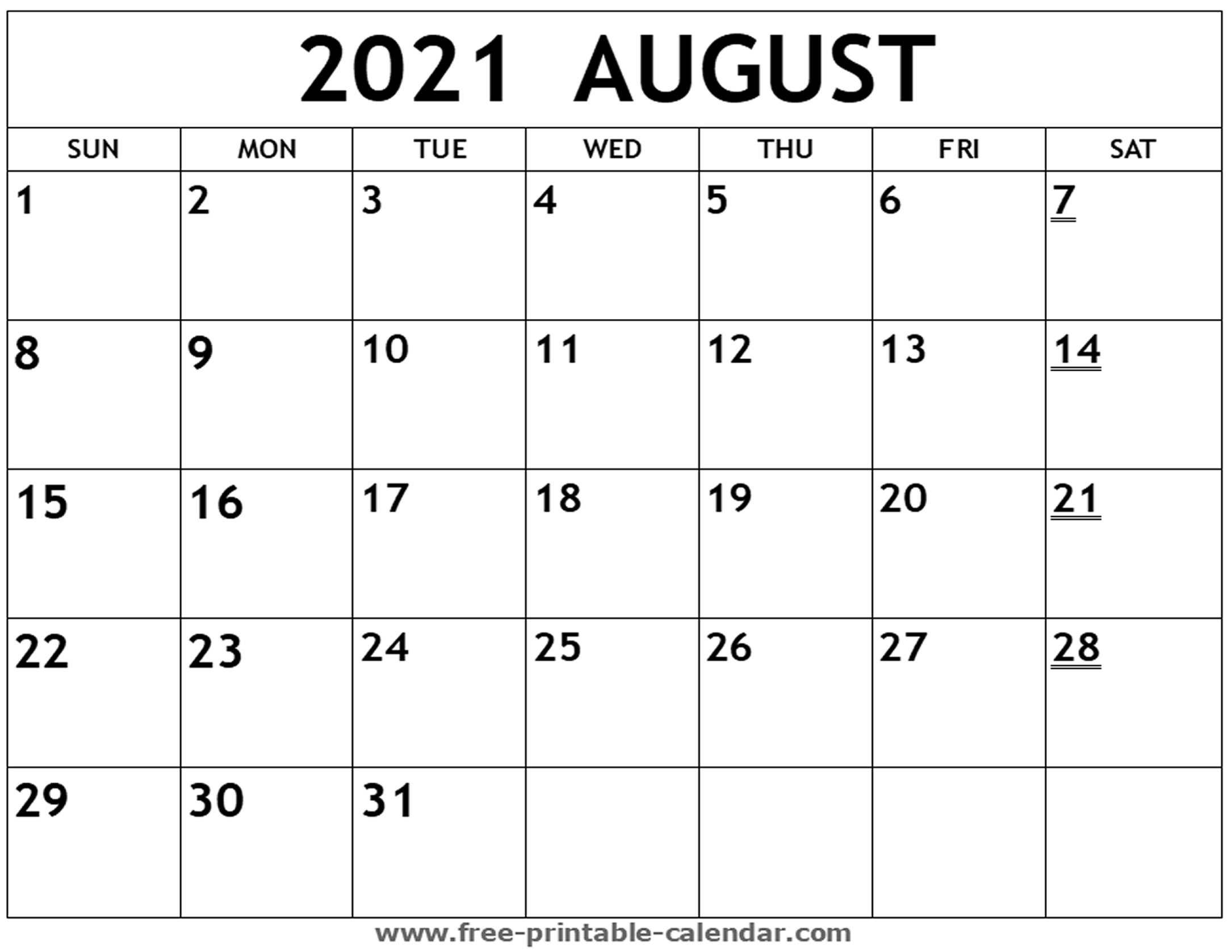 Editable Calendar For August 2021 | Month Calendar Printable