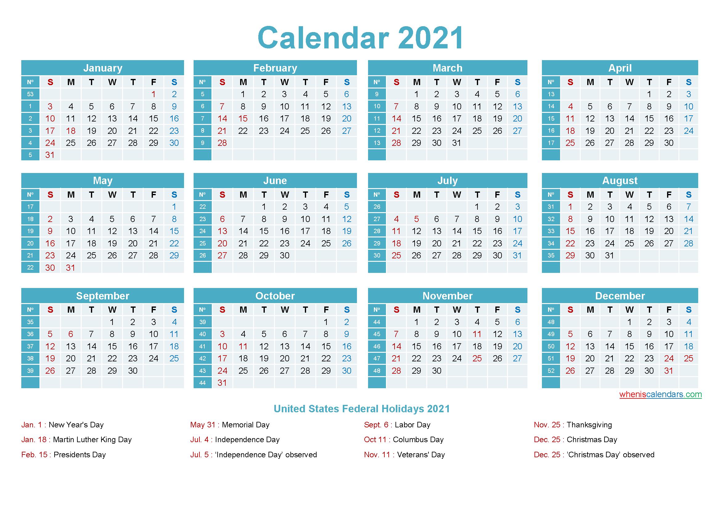 Editable Calendar Template 2021 - Template No.ep21Y12
