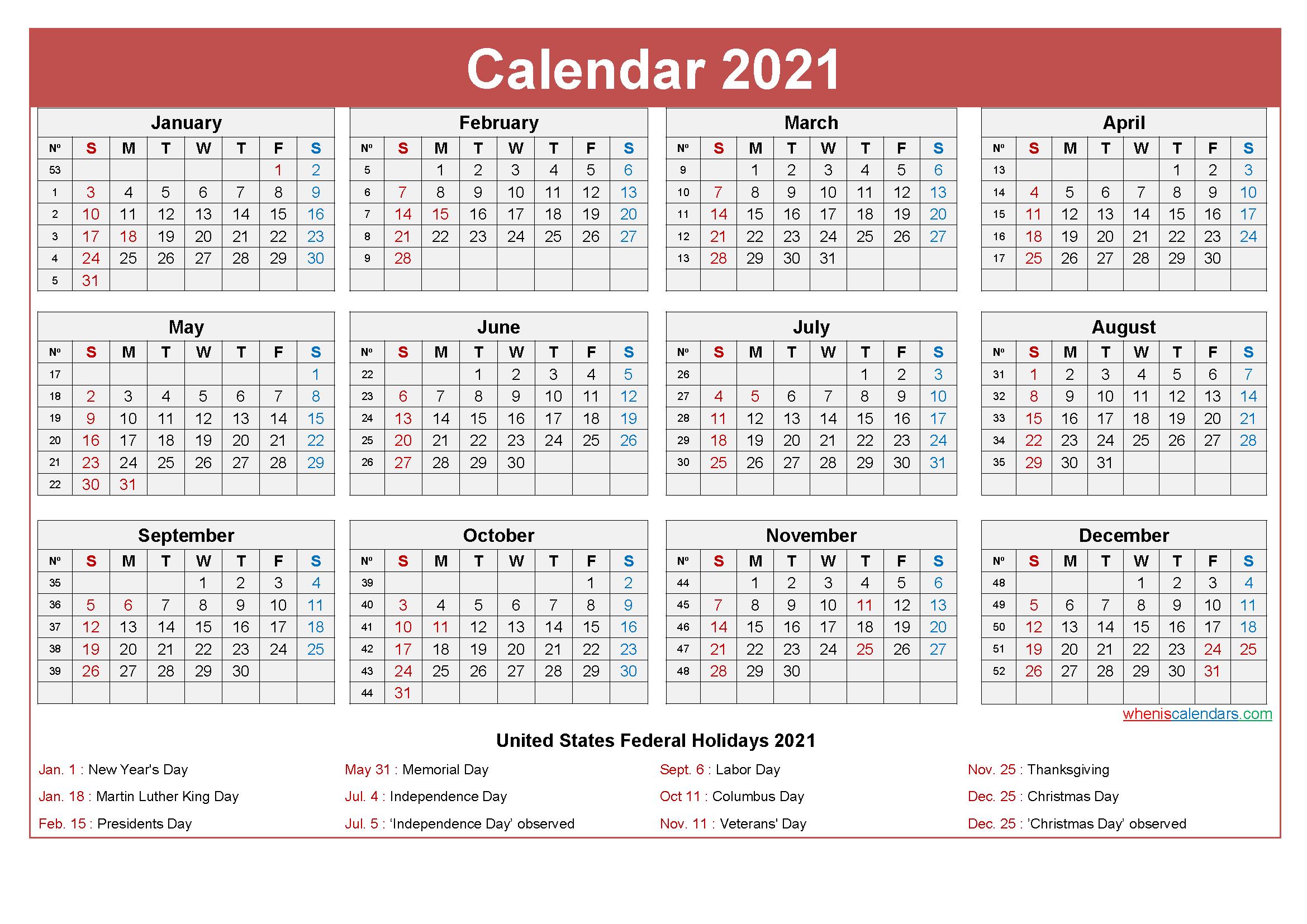 Editable Calendar Template 2021 Word - Template No.ep21Y27