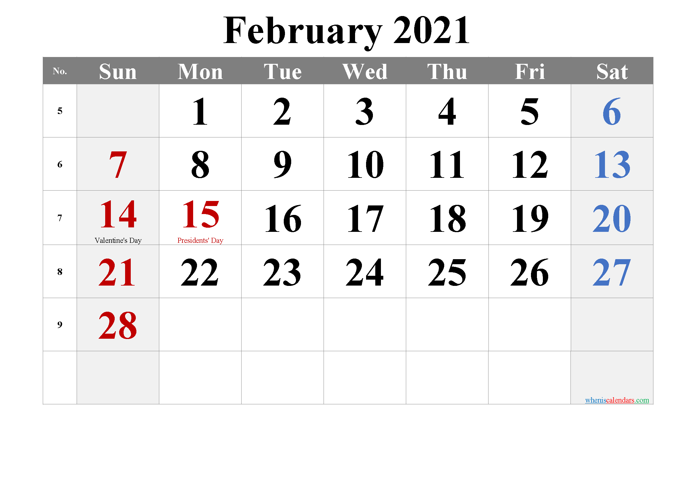 Editable February 2021 Calendar | Calendar Page